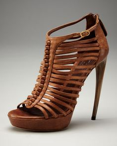 Alexander McQueen Horn-Heel Cage Sandal