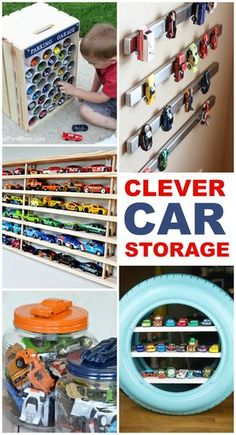 15 Clever Toy Car Storage Ideas Did your kids get a ton of new toy cars this holiday? Now I'm on the hunt for some car storage ideas to contain them. Toy Car Storage, Crate Storage, Kids Storage, Baby Storage, Storage Ideas For Kids, Storage For Toys, Clever Storage Ideas, Matchbox Car Storage, Pvc Pipe Storage