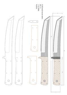 Forging Knives, Blacksmithing Knives, Knife Patterns, Wood Carving Patterns, Cool Knives, Knives And Swords, Knife Art, Diy Knife, Knife Drawing