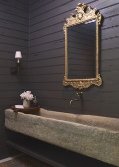 Powder room chic with gilded mirror stone water trough imported from that weighs a million lbs shiplap walls and pretty ✨ Stone Sink, Restoration Hardware Bathroom, Ship Lap Walls, House Interior, Bathroom Decor, Bathroom Design, Beautiful Bathrooms, Mirror, Gilded Mirror