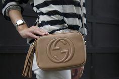 Gucci Soho disco bag, camel crossbody bag, Gucci watch