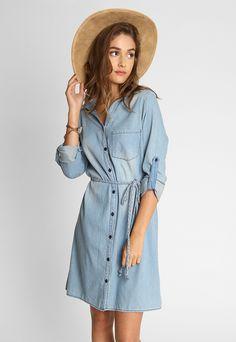 Denim Shirt Dress in Blue - Wet Seal