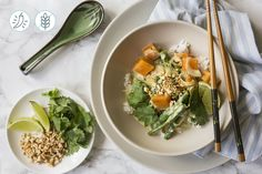 sweet potato and green bean curry, served over a bed of fragrant jasmine rice.