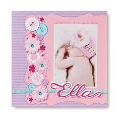 Love the use of paper flowers and paper buttons!   Baby Ella Pens #Scrapbooking Layout Ideas from Creative Memories    http://www.creativememories.com