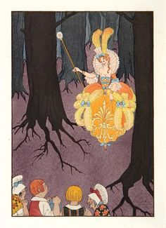 BARBIER, Georges. Costume Plate, forest scene.  Original pochoir print, depicting a forest fairy-tale scene, France 1921.