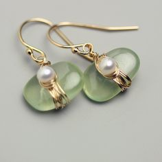 Prehnite Pebble Earrings with Wire Wrapped Freshwater Pearl.