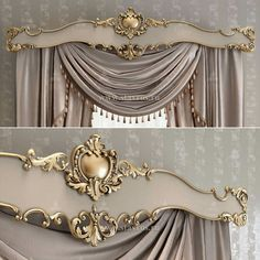 Design project of the carved cornice for curtains. This window decoration will instantly transform any modern interior, adding magnificence and significance. Elegant Curtains, Beautiful Curtains, Curtain Decor, Window Decor, Curtains, Drapes Curtains, Luxury Curtains, Curtains With Blinds, Classic Curtains