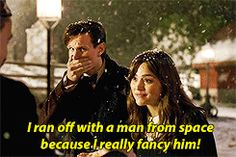 )>>let's talk about how she fancied The Doctor so much that, like Captain Jack, she hitched s ride on the *outside* of the TARDIS. Bbc Doctor Who, Eleventh Doctor, Clara Oswald, Don't Blink, Torchwood, Matt Smith, David Tennant, Dr Who, Superwholock