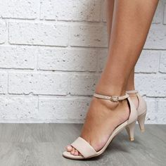 Nude leather Kitten Heel Ladies shoes. Low heels. Perfect party or wedding shoes: 'True Romance Kitten Heel Nude'