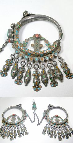 Algeria | Antique Kabyle Khrab set with amazonite and coral | ©red, via BeadCollector
