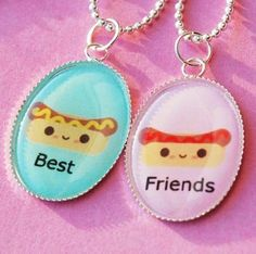 Hot Dog Ketchup and Mustard Best Friend Friendship Necklace by Baby Loves Pink. $28.00. A set of 2 super cute hot dog best friend necklaces! One with ketchup and one with mustard! Silver plated necklace with high gloss finish. Necklace comes gift wrapped ready for gift giving.