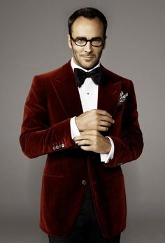 Tom Ford in red velvet! What a departure from the black he always wears.