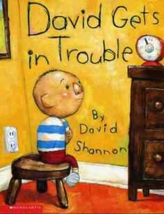 """David Shannon David Gets In Trouble - After countless """"reading"""", all I had to say was """"No David"""" and my children understood that what they were about to do was bad and they would stop and smile. David Shannon, No David, Quoi Qu'il Arrive, First Grade Parade, Handwritten Text, Social Studies Curriculum, Self Regulation, Kindergarten Writing, Kindergarten Behavior"""