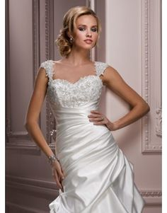 Maggie Sottero Parisianna Swarovski Crystal Bodice Detachable Cap Sleeves Fit N Flare Wedding Dress | Nearly Newlywed