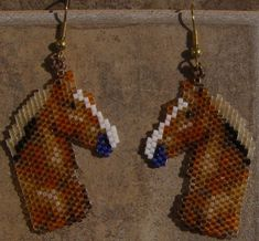 Belgin Horse Head Earrings Hand Made Seed Beaded by wolflady, $25.00