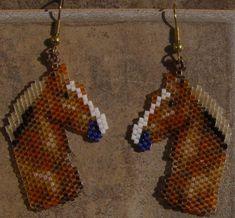 Belgin Horse Head Earrings Hand Made Seed Beaded by wolflady, $25.00