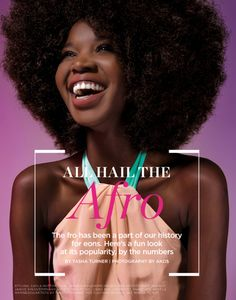 All hail the afro! Essence Magazine, Natural Hair Inspiration, Color Inspiration, Beauty Editorial, Editorial Design, In Cosmetics, Big Hair, Curly Hair, Hair Journey