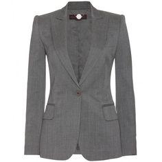 Stella McCartney Worsted Wool Blazer ($1,079) ❤ liked on Polyvore featuring outerwear, jackets, blazers, coats, coats & jackets, grey melange, evening jackets, lined jacket, wool blazer and grey wool blazer