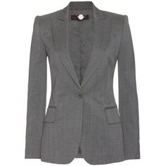 Stella McCartney Worsted Wool Blazer ($1,079) ❤ liked on Polyvore featuring outerwear, jackets, blazers, coats, coats & jackets, grey melange, evening jackets, lined jacket, wool blazer and grey wool blazer
