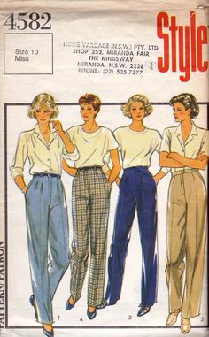 1980s Womens Pants Style 4582 Vintage Sewing Pattern Size 10 Waist 25 inches