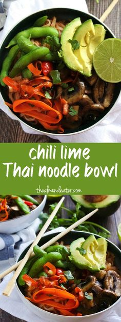 Chili Lime Thai Noodle Bowl-The Almond Eater - Gluten free, dairy free and only 8 ingredients--this Thai Noodle Bowl is packed with vegetables and a simple vegetarian weeknight meal Veggie Recipes, Healthy Dinner Recipes, Asian Recipes, Vegetarian Recipes, Free Recipes, Asian Foods, Healthy Dinners, Clean Eating Recipes, Healthy Eating