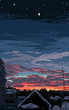 pixel scenery — wizardries: January Nightfall by wizardriesx Phone Backgrounds, Wallpaper Backgrounds, Iphone Wallpaper, Neon Wallpaper, Piskel Art, Pixel Art Gif, Arte 8 Bits, 8bit Art, Kairo