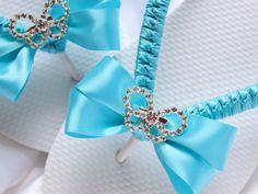 Turquoise Bridal flip flops decorated w/ rhinestone butterfly by AdrianaSantosBridal