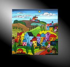 """moderne Malerei und Kunst,  """"City Fantasies No 45"""" 80x80 cm Acryl auf Leinwand, handgemaltes Original in kräftigen Farben, Landschaft, Stadt, Fantasie"""