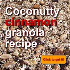 Looking for a healthier alternative to store-bought #granola cereal? Try this #recipe with no fillers, no refined sugar and tons of flavour! http://www.vibeshifting.com/coconutty-cinnamon-granola-recipe/