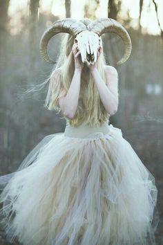 Girl In Sheep Skull #Wallpaper