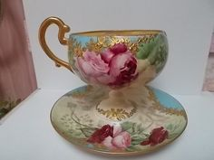 UNUSUAL WILLETS BELLEEK HAND PAINTED ROSES LARGE CUP  SAUCER