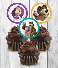 Masha and the Bear Cupcake Toppers Printable Instant by FVDeezigns