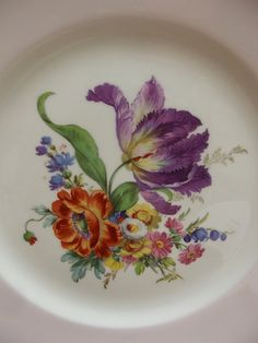 English Bone China Plate with Iris and Pink Rim by YBINUCAROL
