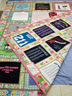 T-Shirt Quilt - I'd change the outside fabrics to make it flow better, but this is really neat! Good way to showcase quirky old t-shirts.