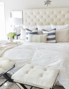 Shades of Summer Home Tour with Neutrals and Naturals- Pottery Barn Tall Lorraine bed with belgian flax diamond linen quilt and hadley ruched duvet