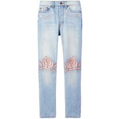 Bliss and Mischief Song of the West Straight Leg Jean (1.661.150 IDR) ❤ liked on Polyvore featuring jeans, pants, bottoms, calças, kirna zabete, sale /, blue jeans, embroidery jeans, rose embroidered jeans and rose jeans