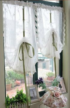 One white lace pinch pleat curtains kids curtains kitchen curtains varied siz String Curtains, Pinch Pleat Curtains, Pleated Curtains, Kids Curtains, Grommet Curtains, Sheer Drapes, Kitchen Curtains, Romantic Shabby Chic, Shabby Chic Decor
