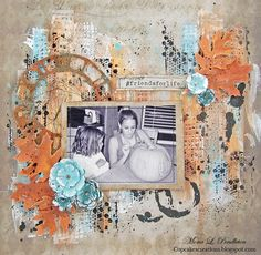 Stunning layout from Mona Pendleton for Simon Says Stamp Monday Challenge Falling in Love