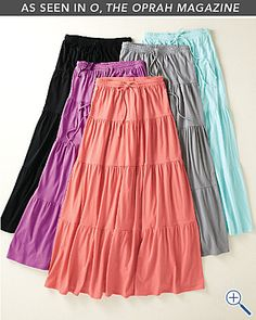 Knit Tiered Beach Skirt.  As seen in Oprah Magazine.  I'll take one in every color!
