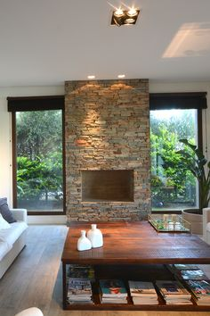 Home Fireplace, Fireplace Design, Home Room Design, Home Interior Design, Indoor Outdoor Fireplaces, House Extensions, Modern Room, Modern House Design, Home Deco