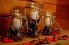 Barn Star Rustic set of 3 Mason Jars filled with Pinecones and candle for table decor, holiday decor, rustic decor by PineknobsAndCrickets on Etsy
