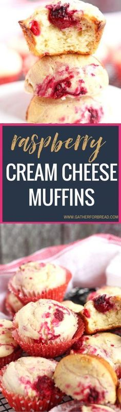 Raspberry Cream Cheese Muffins - Perfect baked muffins with REAL raspberries and cream cheese for a smooth texture. Perfect for breakfast or brunch!