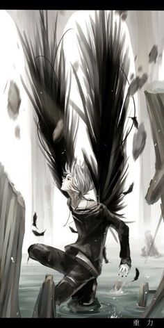 I ran through the thickly wooded area gasping for breath in a panic. A sound like giant bat wings follows me, I stumble over a root and when I look up - I see him (Open RP I'm the Girl her name is Yukki - guy needed)