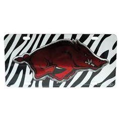 Arkansas Razorbacks License Plate Zebra