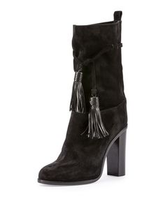 Suede Tassel Mid-Calf Boot, Black by Lanvin at Neiman Marcus.