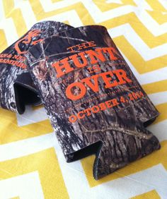 Mossy Oak Camo, Country Wedding, Rustic Wedding, The Hunt is Over Camo Wedding Koozies by RookDesignCo on Etsy, $98.00