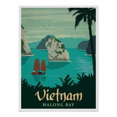 Vietnam, Halong Bay, Vintage Travel Poster