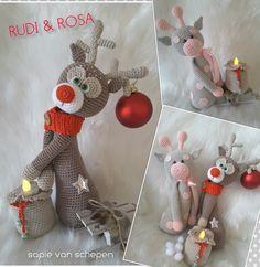 Rudi het rendier, Rosa de giraf en een zak met een waxinelichtje. Het haakpatroon is te bestellen door een pb te sturen naar https://www.facebook.com/petra.mohammed