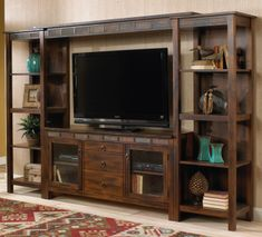Santa Fe 4 Piece Entertainment Wall | Sunny Designs Furniture | Home Gallery Stores