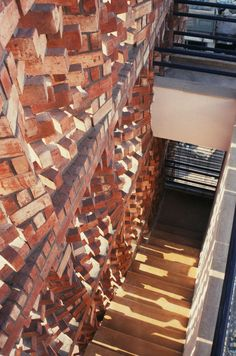 new dehli-based firm anagram architects have designed the office building for the 'south asian human right documentation centre', or SAHRDC Brick Masonry, Brick Facade, Brick Wall, Brick Design, Facade Design, Brick Architecture, Architecture Details, Urban Architecture, Brick Detail